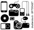Icon set of electronic gadgets - stock photo