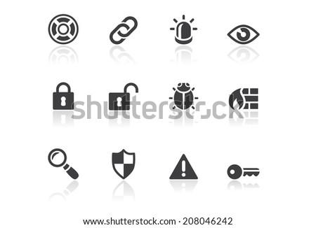 Icon set - Reflection - Security - stock photo