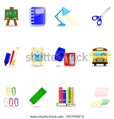 Icon set with school symbols