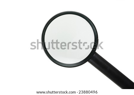 Icon style magnifying glass, isolated on pure white.