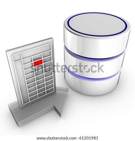 Icon symbolizing the data import into a database - stock photo