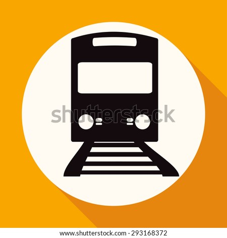 Icon Train on white circle with a long shadow - stock photo