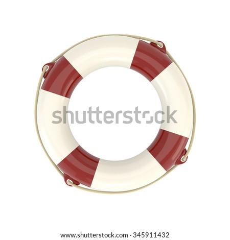 Icon white red lifebuoy isolated on white background. Sos, protection, guardian. 3d illustration. - stock photo