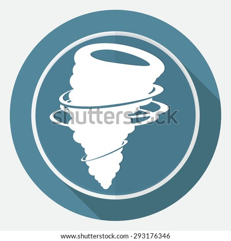 Icon wind on white circle with a long shadow - stock photo