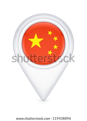 Icon with chinese flag.Isolated on white background.3d rendered. - stock photo