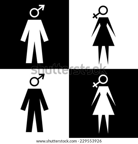 Icon with man and woman. Sign of peoples with gender symbols. Illustration for print and web - stock photo