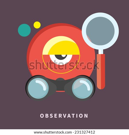 Icon with webcam, binoculars and magnifying glass for observation and monitoring in flat design. Raster version - stock photo