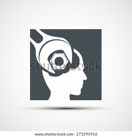 icon wrench to tighten the screws in the human head - stock photo