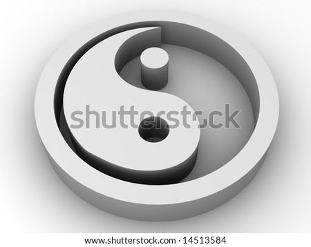 Icon Ying and Yang. 3d - stock photo