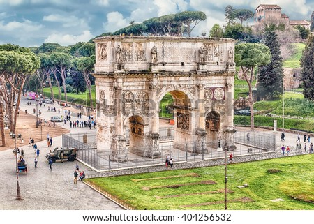 Iconic Arch of Constantine at the Roman Forum in Rome, Italy - stock photo