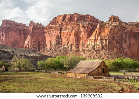 Iconic Barn in Fruita, Capitol Reef National Park, Utah - stock photo