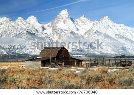 Iconic Barn in Grand Teton National park - stock photo