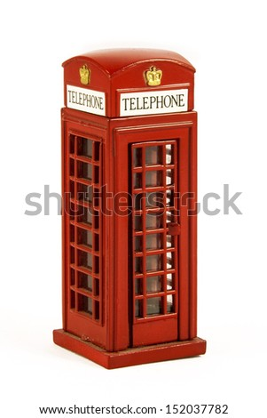 Iconic British red phone booth from London UK, isolated on white - stock photo