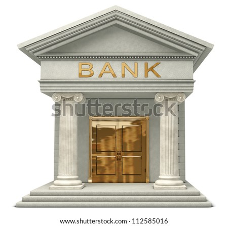 Iconic 3D caricature model of a bank isolated on a white background - stock photo