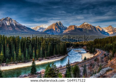 Iconic Morant's Curve, Banff National Park, Alberta Canada - stock photo