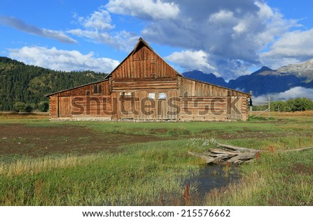 Iconic Moulton barn in rural Wyoming, USA. - stock photo