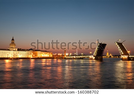 Iconic Palace  drawbridge with panorama of Vasilievsky Island, Saint Petersburg - stock photo