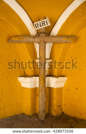 Iconic photo. Symbolic image of Jesus crucifixion. Guatemala - stock photo