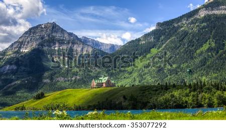 Iconic Prince of Wales Hotel Waterton National Park Alberta Canada - stock photo
