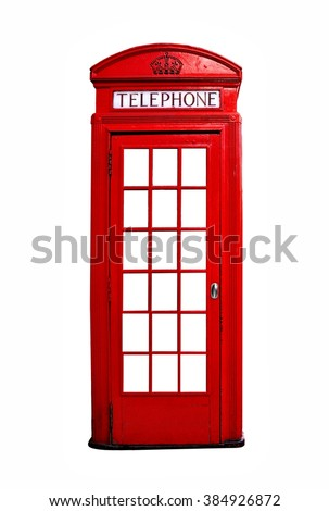 Iconic red British telephone booth isolated on a white background - stock photo