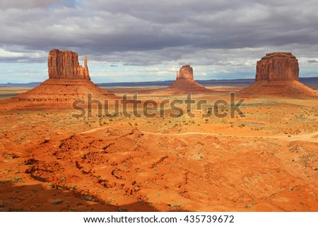 Iconic view at Monument Valley - Utah - stock photo