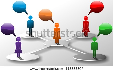 Icons and people linked in a network with voice bubbles - stock photo