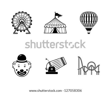 icons circus - stock photo