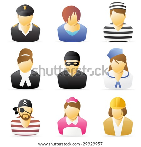 Icons collection representing various people`s occupations. set 5. - stock photo