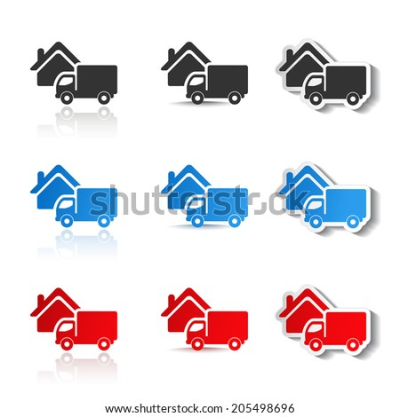 icons - delivery method, free delivery and quick delivery home, truck symbols - stock photo