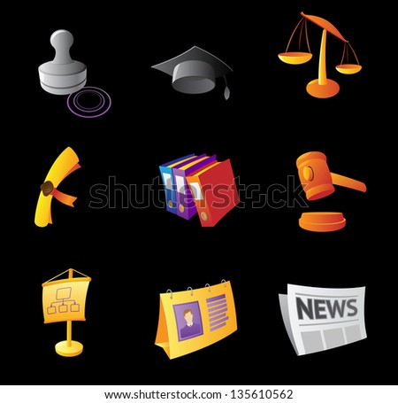 Icons for business, black background. Raster version. Vector version is also available. - stock photo