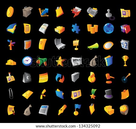 Icons for business, finance and office items. Black background. Raster version. Vector version is also available. - stock photo