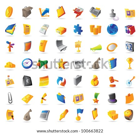 Icons for business, finance and office. Raster version. Vector version is also available. - stock photo