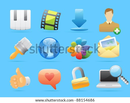 Icons for computer and website interface. Raster version. Vector version is also available.