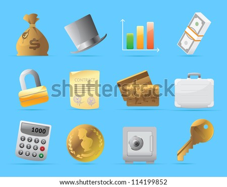 Icons for finance, money and security. Raster version. Vector version is also available.