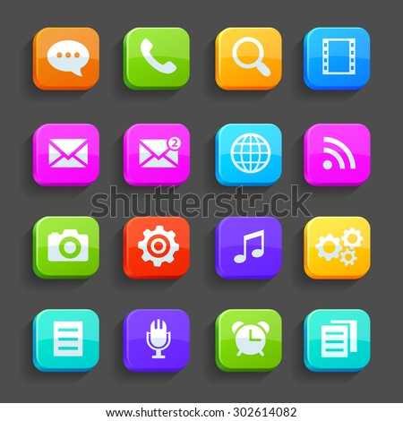 Icons for mobile phone, isolated on gray background. Rasterized Copy - stock photo