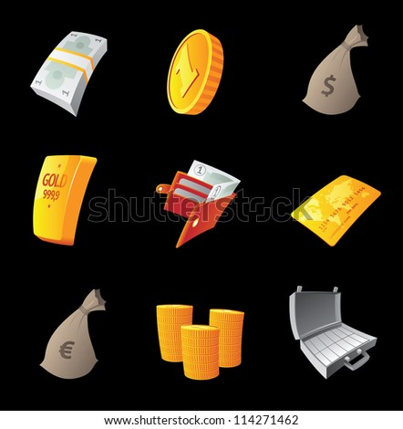 Icons for money, black background. Raster version. Vector version is also available. - stock photo