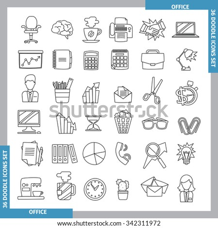 Icons for office and business topics in the style of black whitedoodles. Hand drawn.  Line art