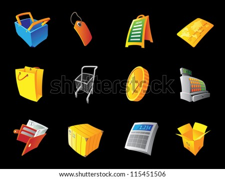 Icons for retail, black background. Raster version. Vector version is also available. - stock photo