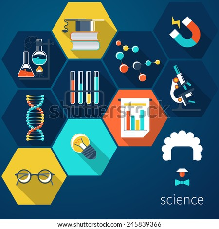 Icons for science and education - stock photo