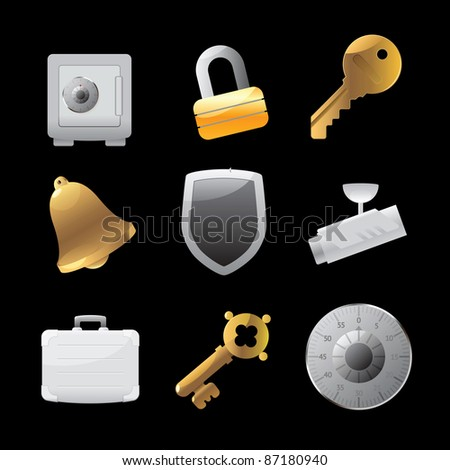 Icons for security. Raster version. Vector version is also available.