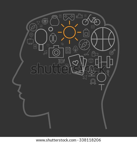 Icons for sport and leisure arranged in human brain shape. - stock photo