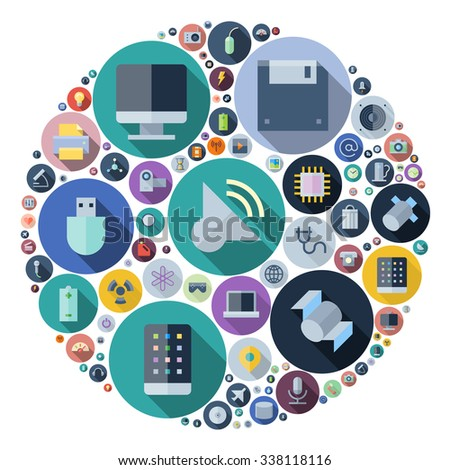 Icons for technology and electronic devices arranged in circle. - stock photo