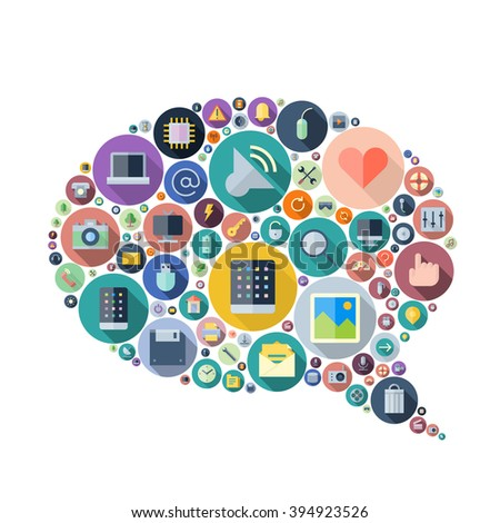 Icons for technology and electronic devices arranged in speech bubble shape. - stock photo