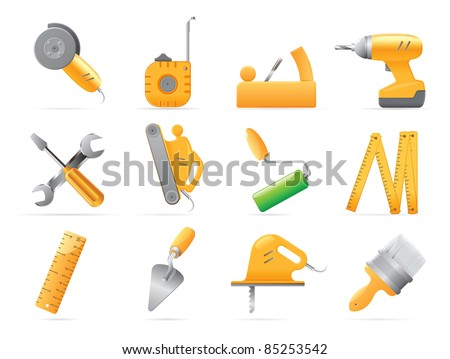 Icons for tools. Raster version. Vector version is also available. - stock photo