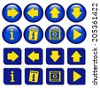icons for virtual tour, navigation buttons with arrow, info symbol and play symbol - stock photo