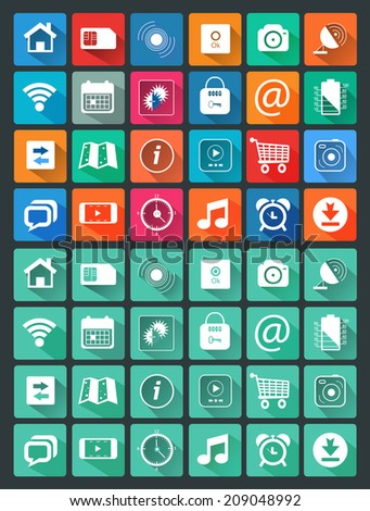 Icons for web and mobile applications in flat design style. Calendar camera video map trolley music mail and other item icons. Raster version - stock photo