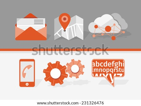 Icons for web and mobile applications. Navigation, communication, tools, cloud storage. Raster version - stock photo