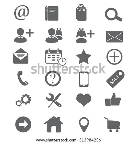 Icons for web site set. Collections of design elements for internet made in black and white.