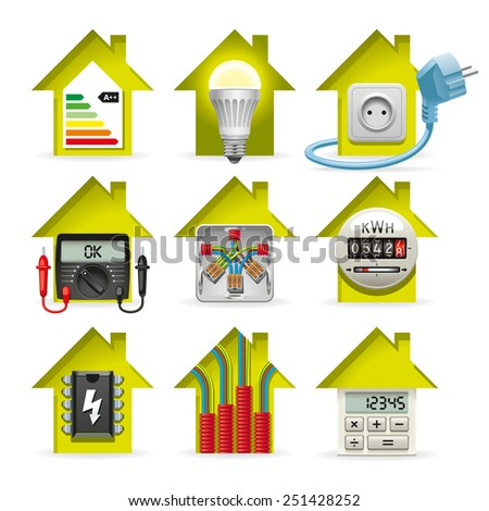 Icons installation of electrical equipment and wiring in the house - stock photo