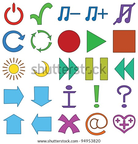 Icons of computer signs and buttons, set
